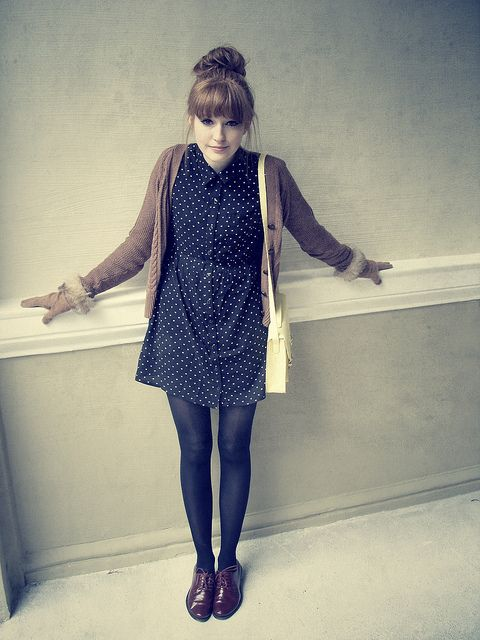 dress & cardigan.