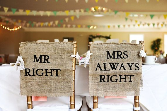 Burlap and Lace Mr. Right & Mrs. Always Right Wedding Chair Covers by HeartOfGoldBlog Rustic Shabby Chic Wedding Decor