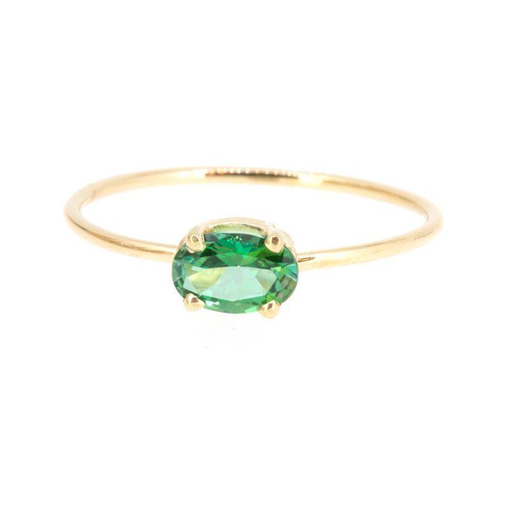 Oval Green Topaz Ring – POPPY FINCH