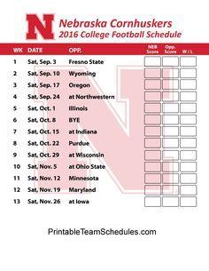Nebraska Cornhuskers  Football Schedule 2016. Printable Schedule Here - http://printableteamschedules.com/collegefootball/nebraskacornhuskers.php
