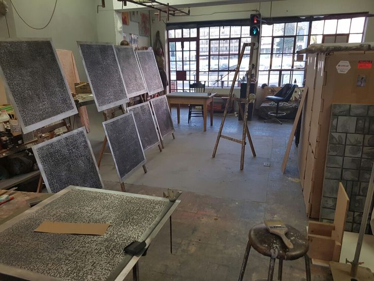 Stefan Blom artist studio, Cape Town showing his 'a life story' acid etched on aluminium plate.