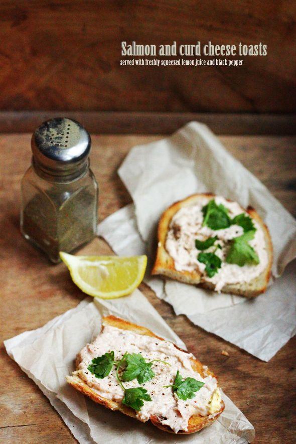 Salmon & Cheese Curd Toasts | Bayaderka