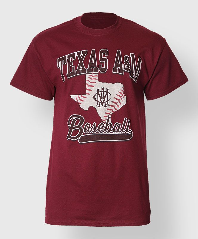 "Show your love for Aggie Baseball with this maroon shirt. The front read's ""Texas A&M Baseball"" with a baseball filled Texas shape and vintage AMC logo."