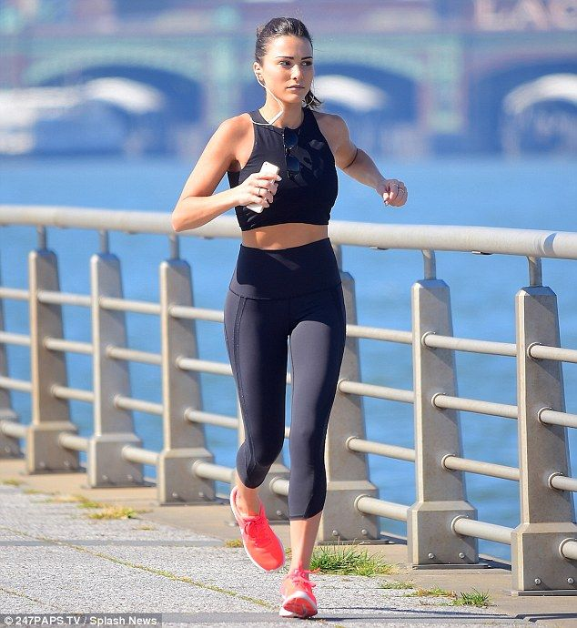 Pounding the pavement: Bachelorette alum Andi Dorfman was spotted jogging along the Hudson River in New York on Tuesday