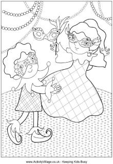 Mardi Gras kids colouring page, coloring page
