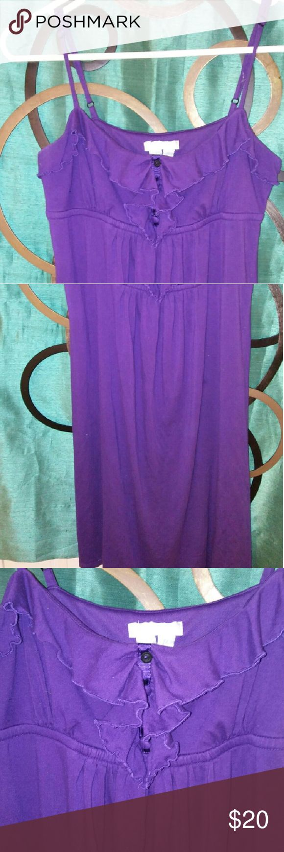 Adorable spaghetti strap summer dress Beautiful eggplant purple color spaghetti strap summary dress.. empire waist has inside bra top for extra support .ruffle detail in the middle great flowy dress for picnic everyday night out really anything London Times Dresses Midi