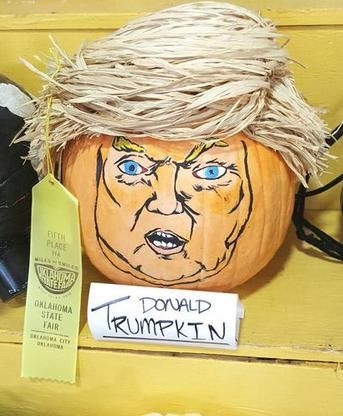 Parody politics this Halloween with a Donald Trump carved pumpkin a.k.a. Donald Trumpkin