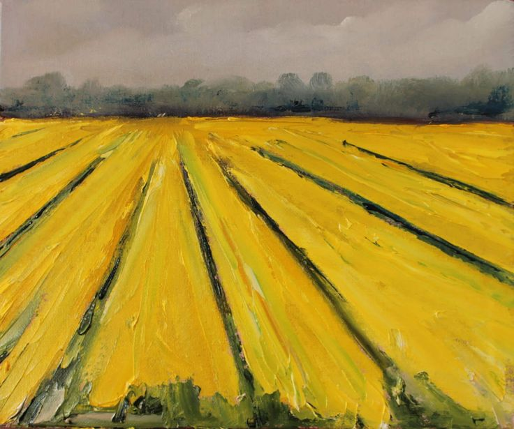 FineArtSeen - Rapeseed Field by John Halliday. This original abstract landscape painting is full of colour and comes from the collection on FineArtSeen. Click to view more art at great prices from the Home Of Original Art. << Pin For Later >>