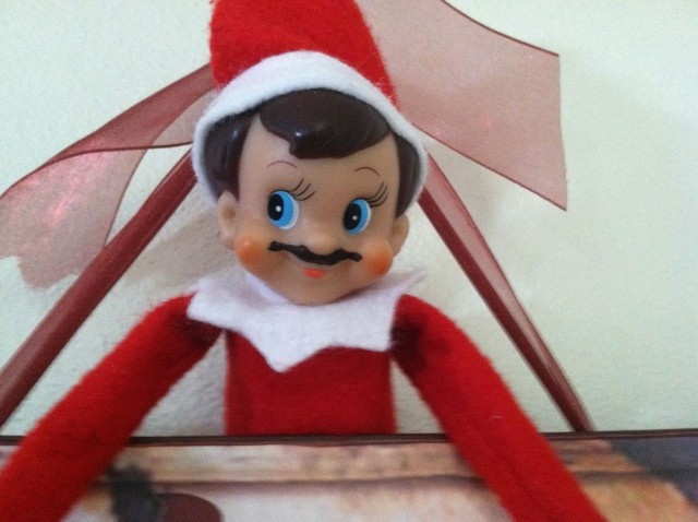 Our Elf on the Shelf is back and keeping it real with a cool mustache!
