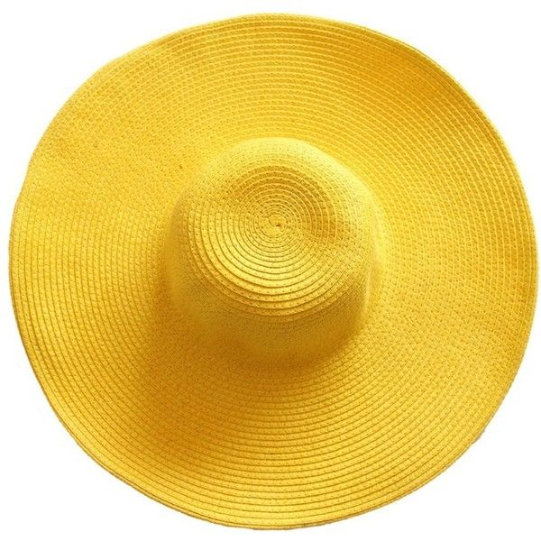 Aoibox Women's Foldable Wide Large Brim Beach Sun Hat ($5.99) ❤ liked on Polyvore featuring accessories, hats, yellow hat, foldable hat, wide hat, sun hat and brimmed hat
