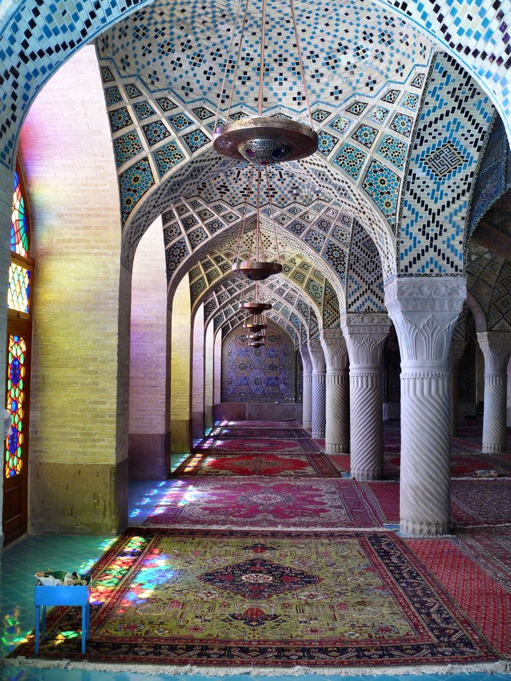The Nasīr al-Mulk Mosque (Persian: مسجد نصیر الملك - Masjed-e Naseer ol Molk) is a traditional mosque in Shiraz, Iran.   Colours frm Stained glass amazing ....