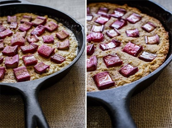 Breakfast Friday >> Honey Rhubarb Quinoa Cornbread | edibleperspective.com #glutenfree