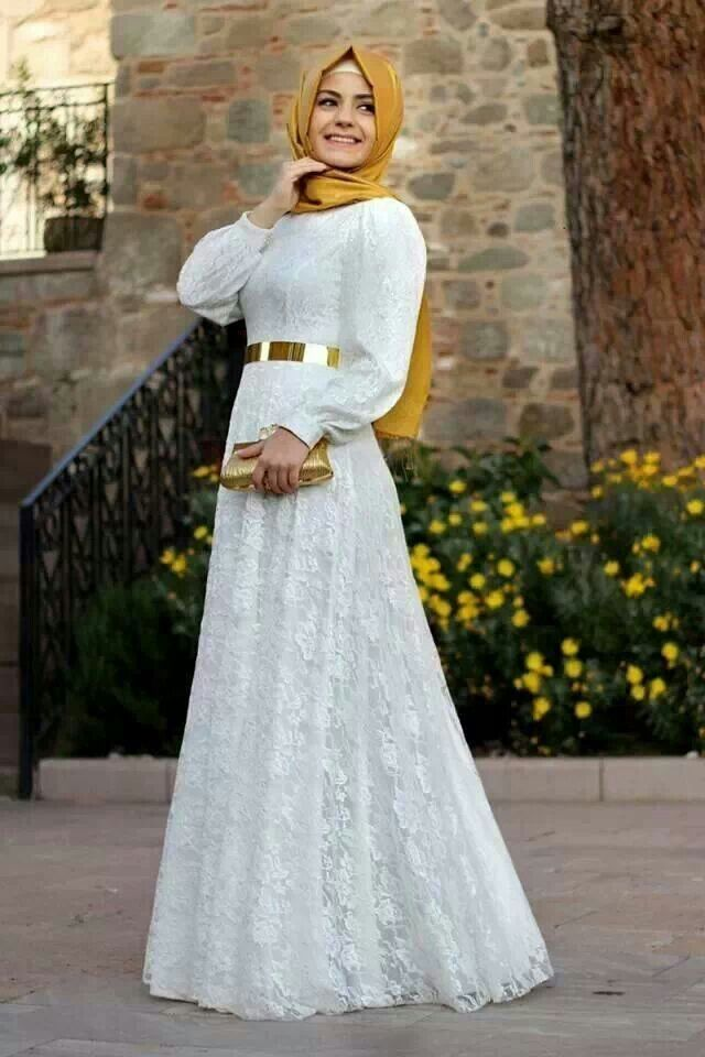 white and golden gowns with hijab - Google Search