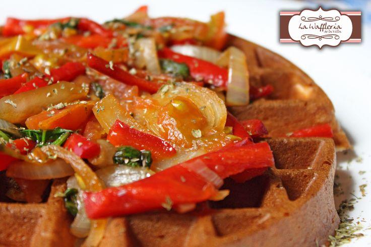 Waffle vegetales salteados!!!