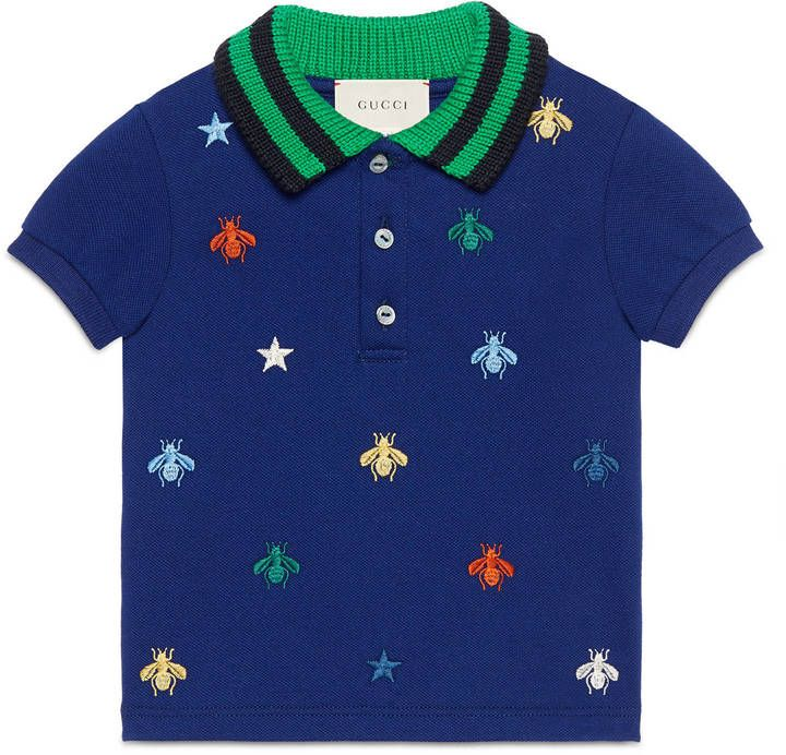 Baby polo with bees and stars embroidery  #ShopStyle #giftideas #holidays click for information or to buy.