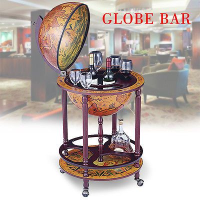 wooden antique world globe bar stand liquor cabinet drink bottle trolley cart