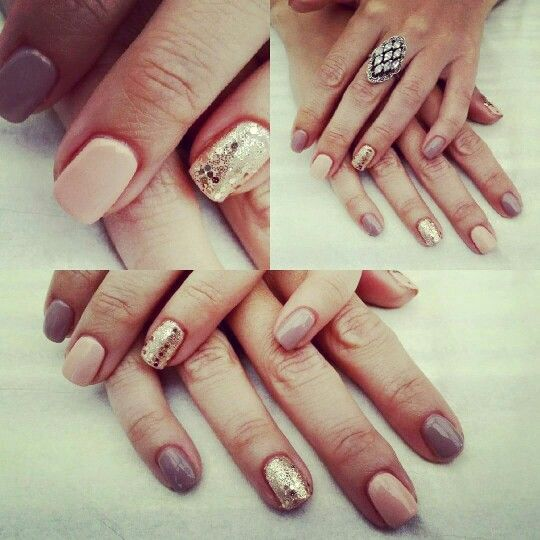 My nude gold taupe nails - beautiful!