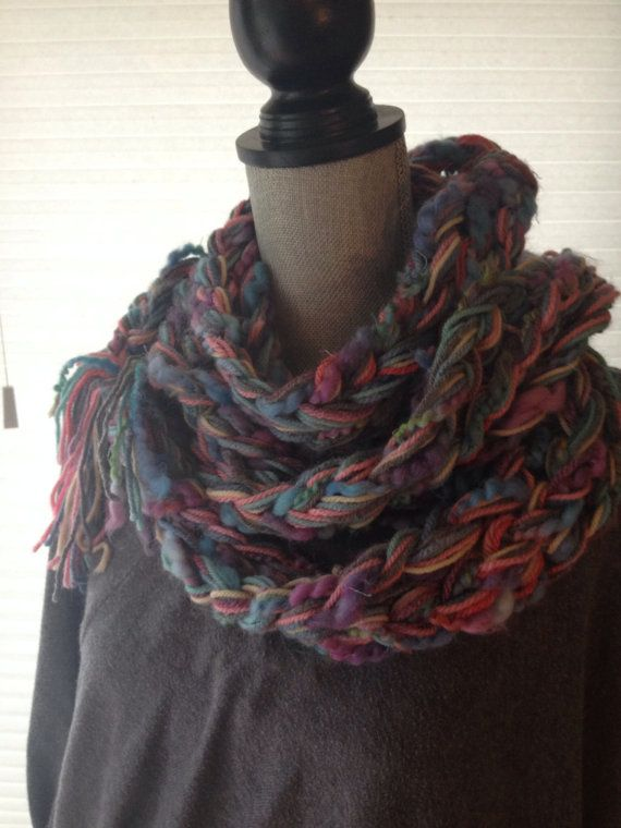 Skinny hand braided scarf finger knit infinity by SevenThreads