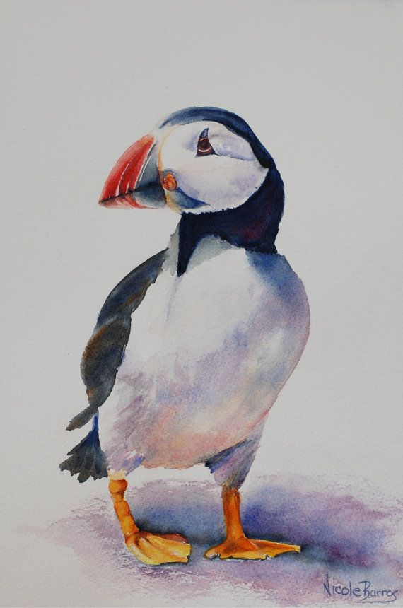 Original Watercolor Painting Puffin Bird by NicoleBarrosArt, $250.00