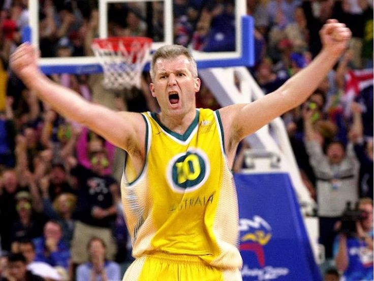 Australia's Andrew Gaze screams with joy after scoring two straight three point shots against Spain to power the Australian's to a victory in men's basketball at the Sydney Olympic Games.