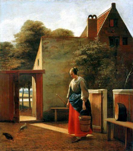 Pieter de Hooch and A Farm Servant In The Backyard