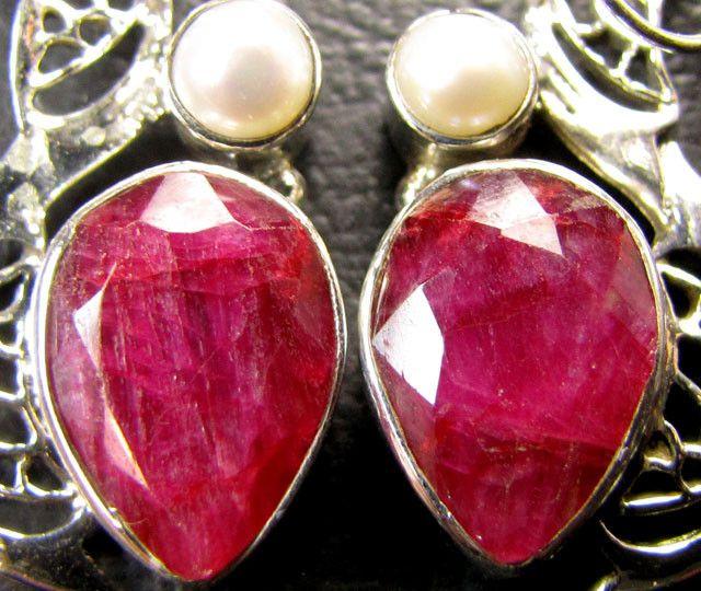 PEARL N LARGE AFRICAN RUBY 925 SILVER EARRINGS RT178  ruby gemstone earrings , gemstone silver earrings