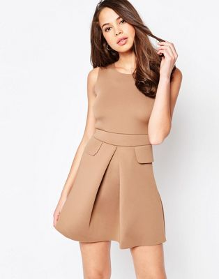 Shop AX Paris Pleated Skater Dress with Pockets at ASOS.