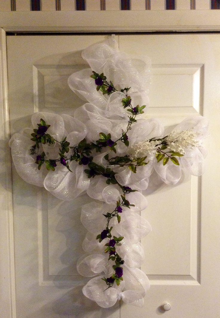 Deco Mesh Cross Easter CrossSummer WreathHoliday WreathsWreath IdeasDeco