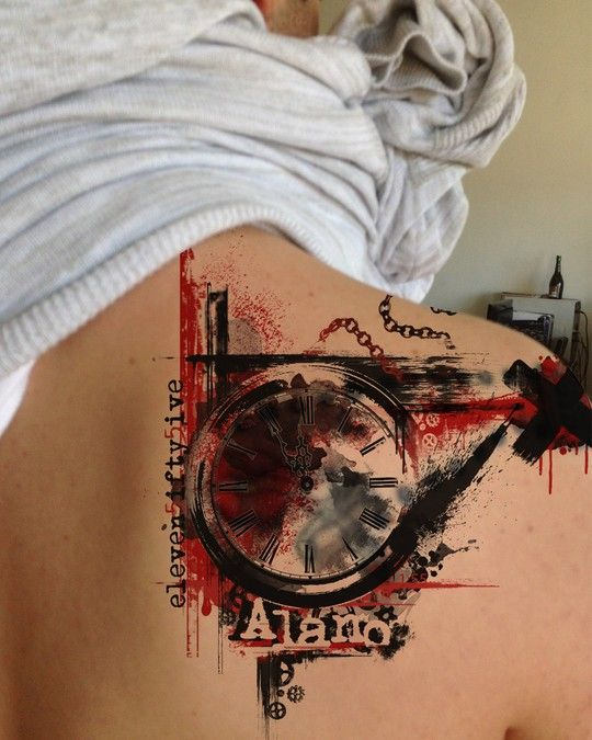 This red and black trash polka tattoo design was created by INKSPITJUNKIE for carlos U. The tattoo is a cover up of a preexisting shoulder-piece and features a clock stopped at 11:55 and his son's name Alano #tattoo #design #trashpolka
