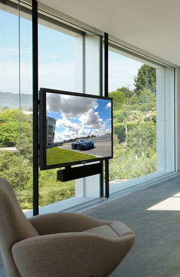 TV over glass wall