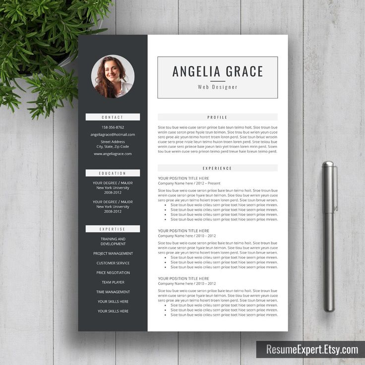 Modern Resume Template / CV Template  Cover Letter Word (US Letter A4) Professional Creative Simple Resume Instant Download Angelia (15.00 USD) by ResumeExpert