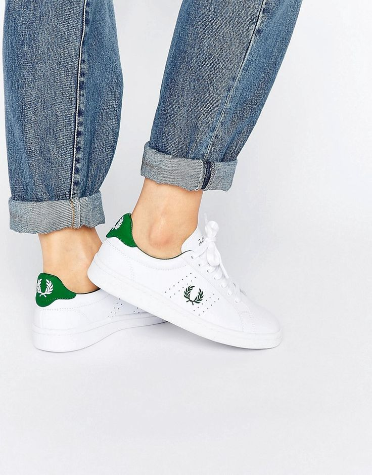Buy it now. Fred Perry White and Green Leather Trainers - White. Trainers by Fred Perry, Leather upper, Suede trim, Lace-up design, Branded tongue, heel and cuff, Embroidered logo detail, Chunky sole, Moulded tread, Treat with a leather protector, 100% Real Leather Upper. ABOUT FRED PERRY Since the 1940s, Fred Perry's blend of sports and street wear has captured the labels signature preppy style. The classic pique polo shirt is reworked into t-shirt dresses and blouses, as dogtooth checks…