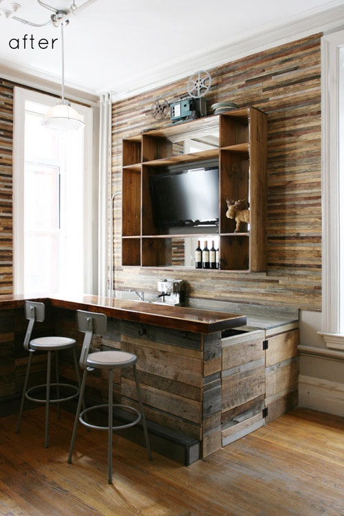 reclaimed wood on wall and bar. amazing transformation.