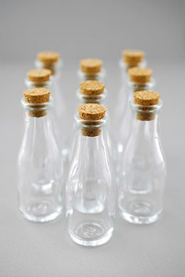 Mini Glass Bottles with Cork 40ml 3.8in (Pack of 10)