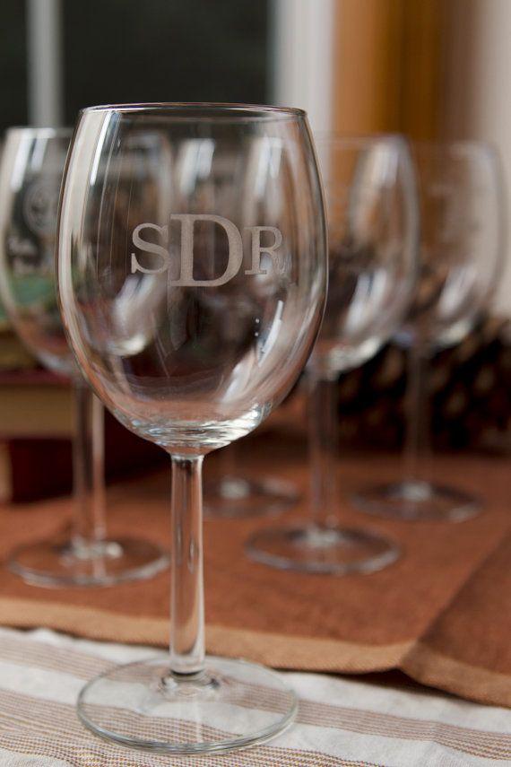 Monogram Wine Glasses Custom Design LaserEngraved by EngravingPro, $24.00