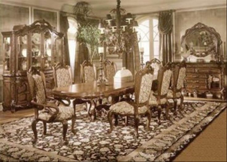 Dining Room Victorian Dining Set With Pattern Carpet Also Candle Holder And  Chandelier Besides Side Board
