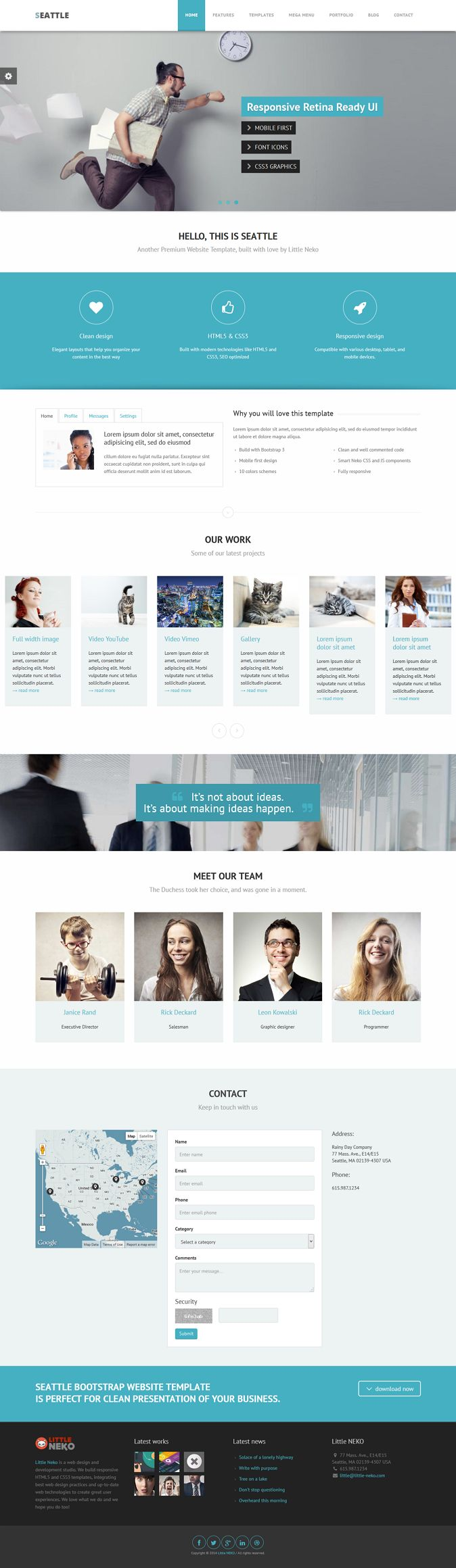 Seattle is a #Boostrap 3, clean, mobile first and easy to use premium multipurpose #website template. Seattle template is built with easy customization in mind. It comes with more than 30 page #templates, 10 color schemes.
