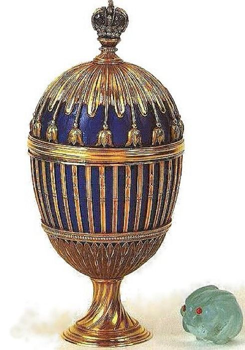 3. Blue Enamel Ribbed Egg, 1187. Workmaster M. Perchin. (Stavros Niarchos Collection, Paris)