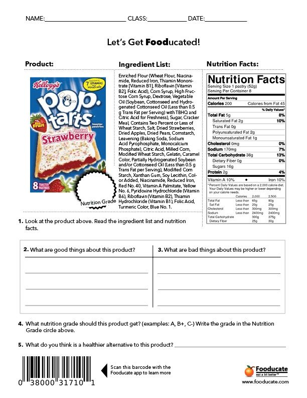 "Fooducate.  Students will analyze the food label and tell what is good vs. what is bad in this food product.  We will then scan it to see what score it gets.  Note:  They use a different grading system then I do.  (Different criteria.  Must explain to students.  Find this information at website under ""about"".  http://blog.fooducate.com/nutrition-101/"