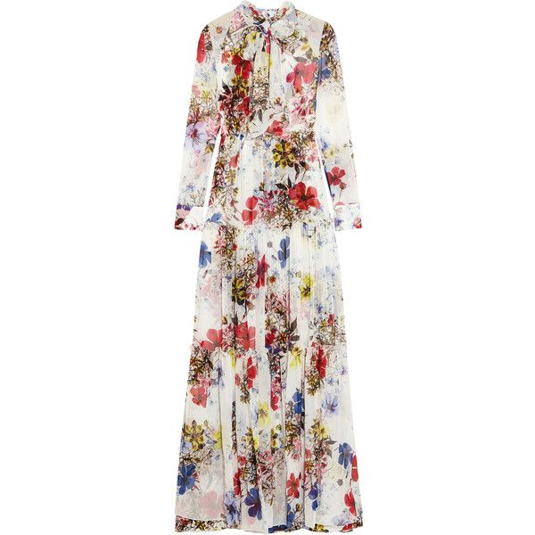 Erdem Denise floral-print silk-chiffon gown (42010 MAD) ❤ liked on Polyvore featuring dresses, gowns, white, floral print evening gown, white floral print dress, white dress, white gown and white evening dresses