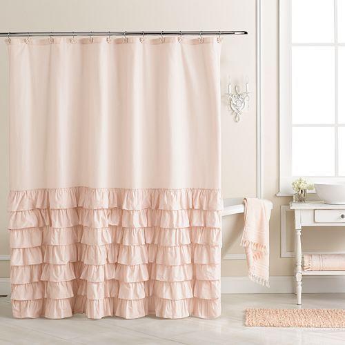 LC Lauren Conrad Ella Ruffle Fabric Shower Curtain   Ellys Bathroom