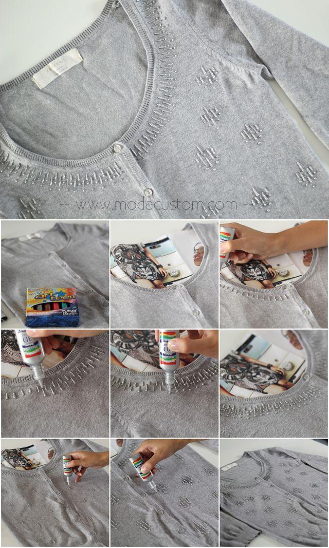 Veja o vídeo com o passo a passo: http://www.modacustom.com/2014/10/tutorial-efeito-de-bordado-com-tinta.html