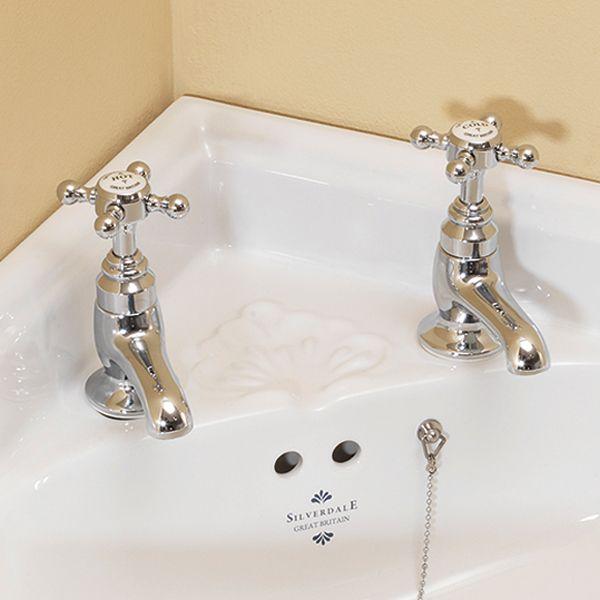 Silverdale Victorian Cloakroom Basin Pillar Taps | Victorian Plumbing