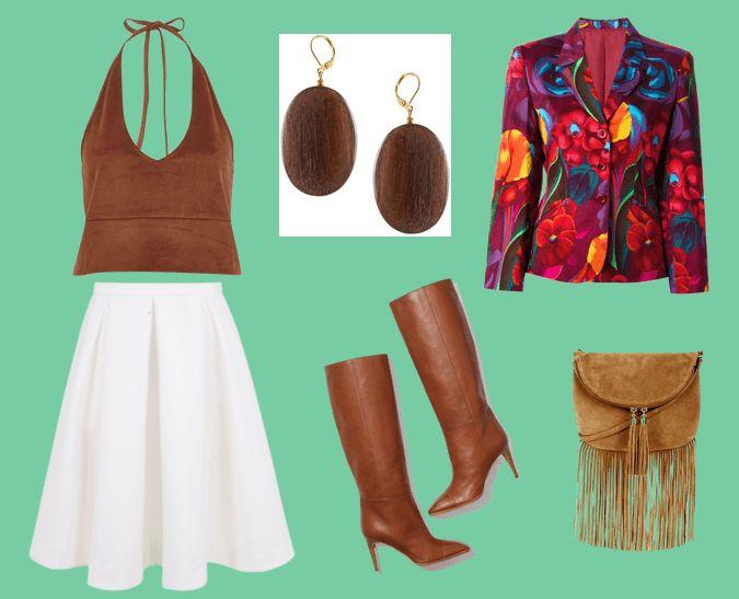Коричневый топ, серьги округлой формы, пиджак с цветочным принтом, белая юбка, коричневые сапоги, светло-коричневая сумка с бахромой