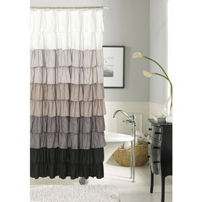 Dainty Home Gray Flamenco Ruffled Shower Curtain ($58) ❤ liked on Polyvore featuring home, bed & bath, bath, shower curtains, grey, frilly shower curtains, gray shower curtains, ruffled shower curtains and grey shower curtains