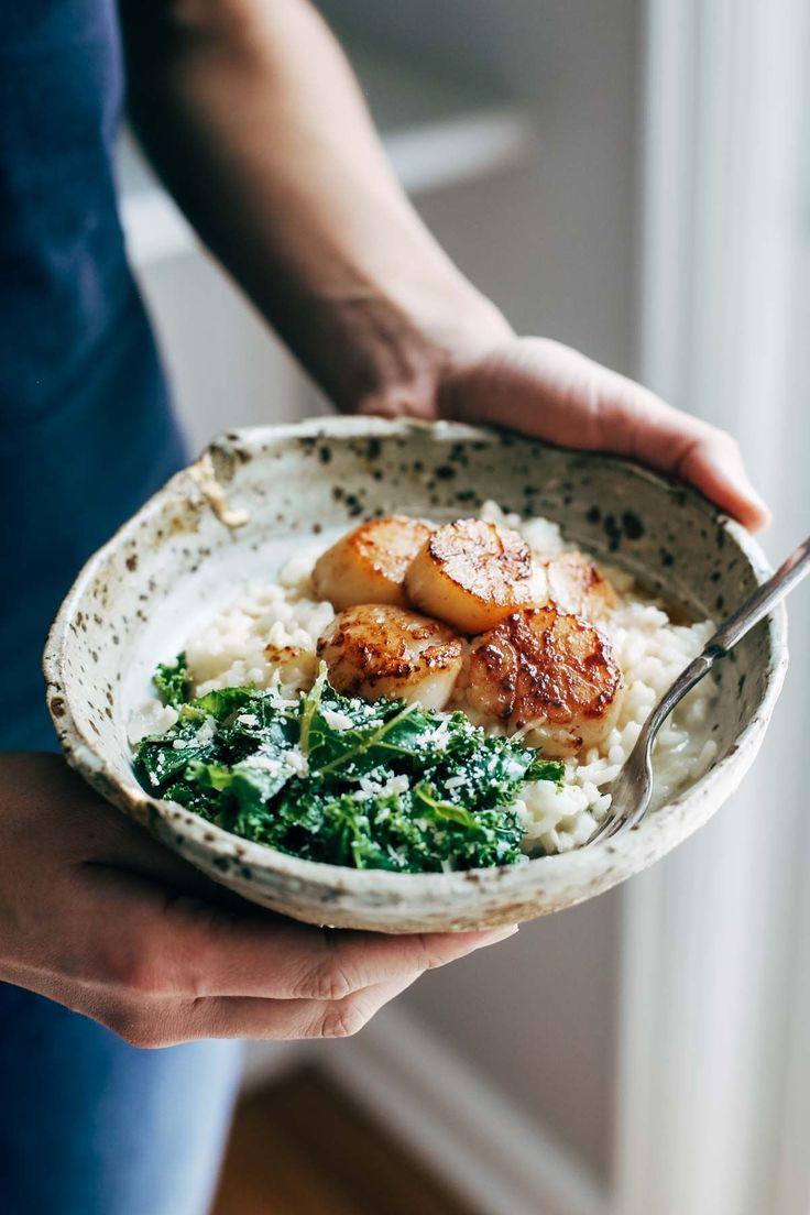 Brown Butter Scallops with Parmesan Risotto (sub cauliflower rice)                                                                                                                                                                                 More