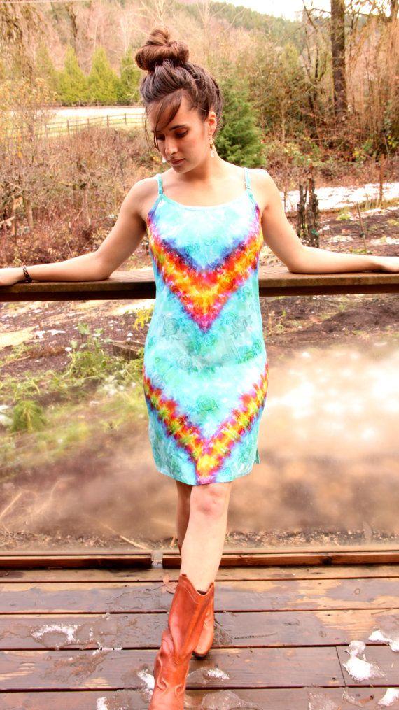 Tie Dye Rainbow Chevron Hippie Goddess Gypsy Handmade by TheMiriad