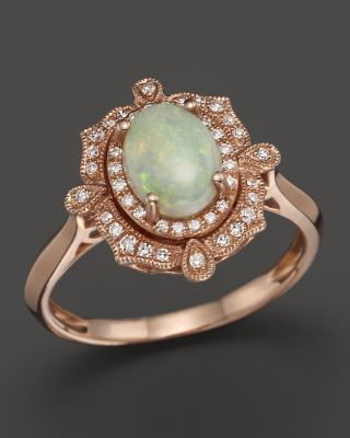 Opal and Diamond Halo Ring in 14K Rose Gold | Bloomingdales's