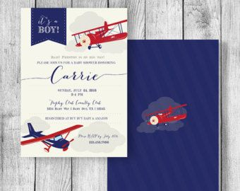 Airplane Baby Shower Invitation Printable by GeminiCelebrations