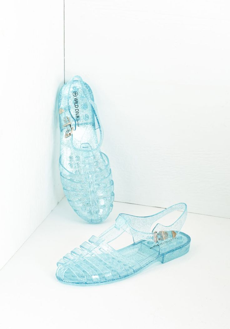 Saved by the Jelly Sandal - Blue, Solid, Casual, Beach/Resort, Vintage Inspired, 90s, Good, Slingback, Flat, Glitter, 80s, Spring